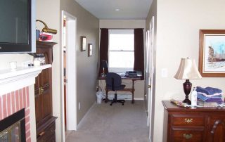 office desk in a small hallway